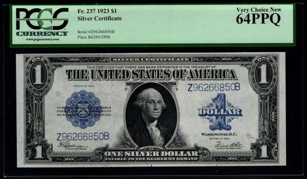 1923 $1 Silver Certificate PCGS 64 PPQ Fr.237 Item #80600285