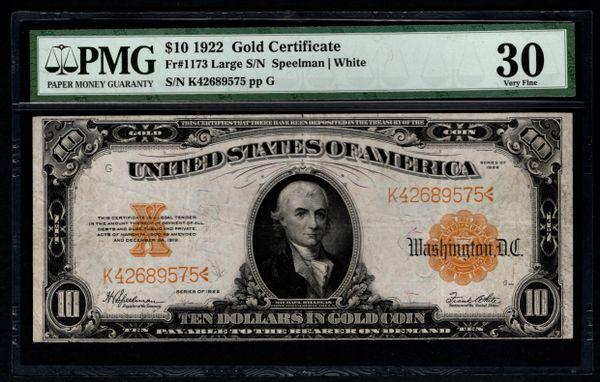1922 $10 Gold Certificate PMG 30 Fr.1173 Item #5012605-017