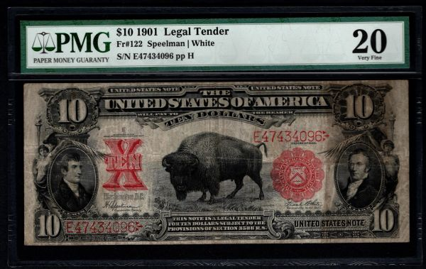 1901 $10 Legal Tender Bison Note PMG 20 Fr.122 Item #8064034-003