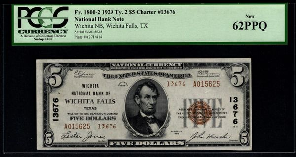 1929 $5 Wichita National Bank of Wichita Falls TX Texas PCGS 62 PPQ Fr.1800-2 Charter CH#13676 Item #80024044