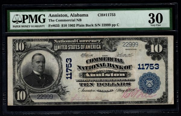 1902 $10 Commercial National Bank Anniston AL Alabama PMG 30 Fr.633 Charter CH#11753 Item #1819002-004