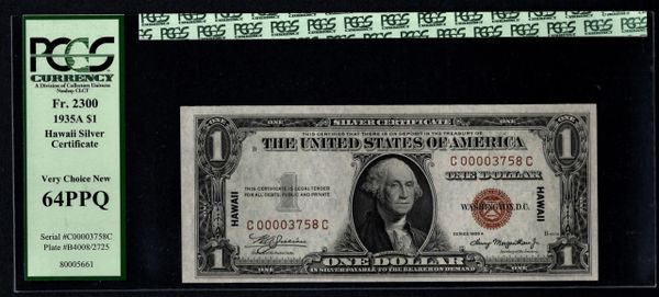 1935A $1 Hawaii Silver Certificate PCGS 64 PPQ Fr.2300 Low 4 Digit Serial Number Item #80005661