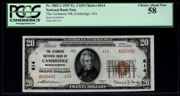 1929 $20 Lechmere National Bank Cambridge Massachusetts PCGS 58 Fr.1802-2 Charter CH#614 Item #80620124