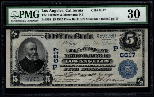 1902 $5 Farmers & Merchants National Bank Los Angeles California CA PMG 30 Fr.598 Charter Ch#6617 Item #8064262-002