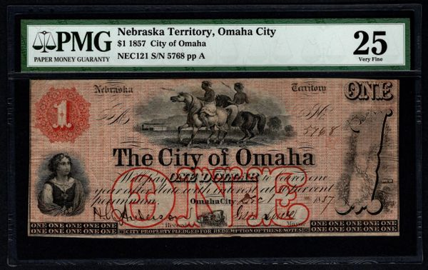 1857 $1 City of Omaha Nebraska Territory PMG 25 with Indian Scene Item #8064262-005