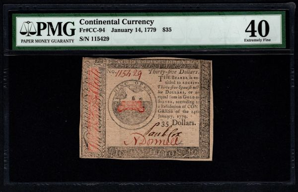1779 $35 Continental Colonial Currency PMG 40 Fr.CC-94 January 14, 1779 Item #8064262-009