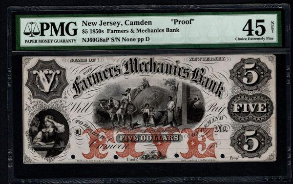 1850's $5 Farmers & Mechanics Bank Camden New Jersey Proof Note PMG 45 NET Item #8056431-040
