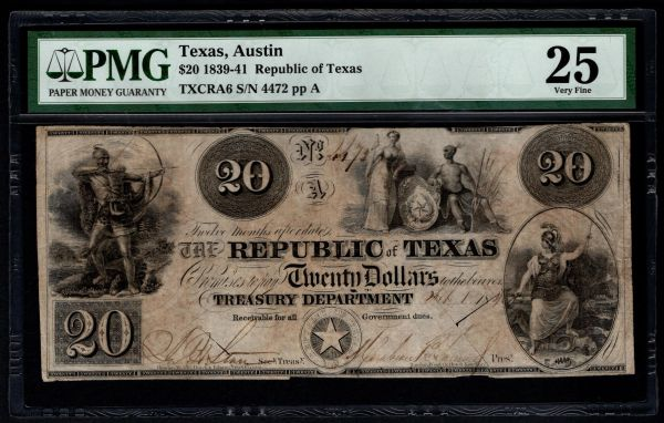 1839-41 $20 Austin Republic of Texas TX PMG 25 Item #5013290-014