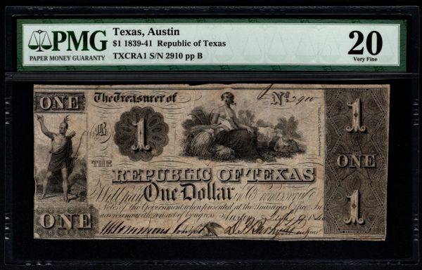 1839-41 $1 Austin Republic of Texas TX PMG 20 Item #5013288-018