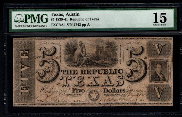 1839-41 $5 Austin Republic of Texas TX PMG 15 Item #5013288-014