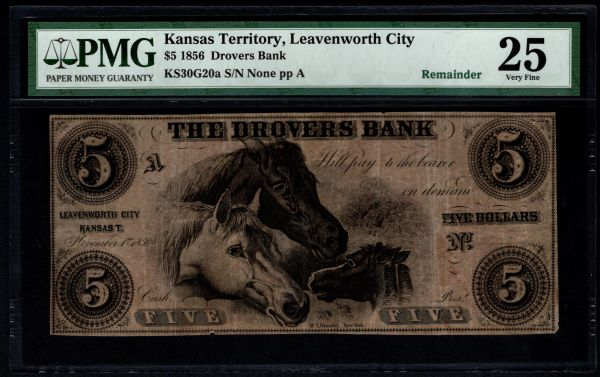 1856 $5 Drovers Bank Leavenworth City Kansas Territory PMG 25 with Horses Item #8058970-001