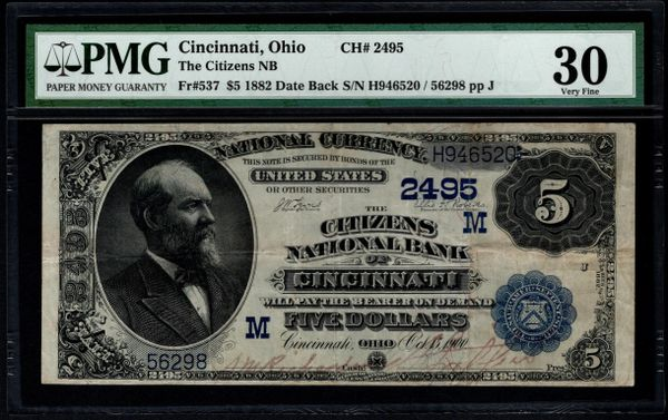 1882 $5 Citizens National Bank of Cincinnati Ohio PMG 30 Fr.537 Charter CH#2495 Item #2509417-012