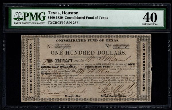 1839 $100 Consolidated Fund of Texas PMG 40 Houston TX 10% Note Item #5013291-004