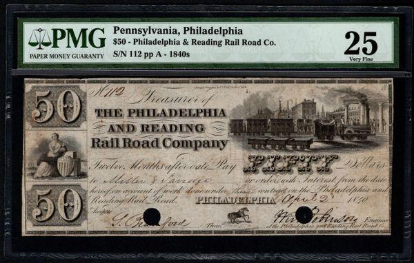1840's $50 Philadelphia & Reading Rail Road Co. PA Pennsylvania PMG 25 with Train Scene Item #1511571-010