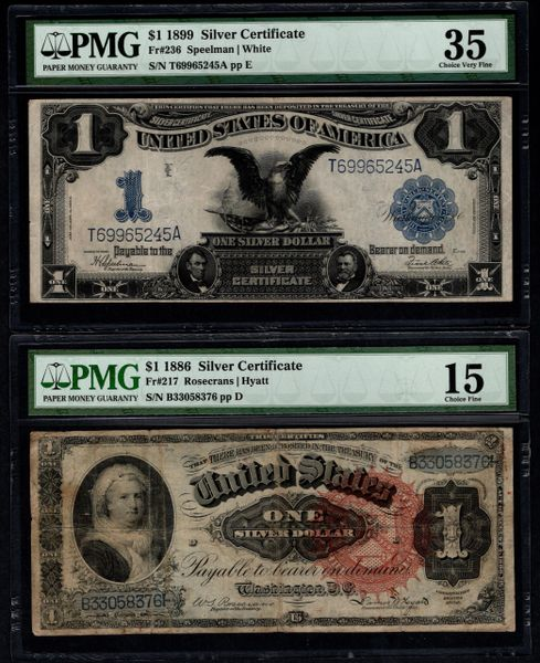 Lot of Six Different Large Size Notes PMG & PCGS Graded Item #L0001