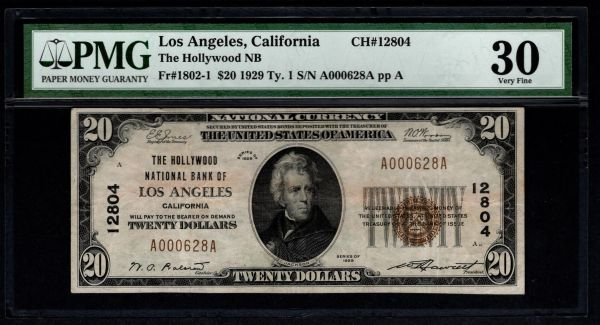 1929 $20 The Hollywood National Bank of Los Angeles California CA PMG 30 Fr.1802-1 Charter CH#12804 Item #5013441-004