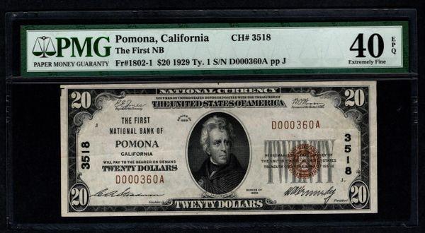 1929 $20 First National Bank Pomona CA California PMG 40 EPQ Fr.1802-1 Charter CH#3518 Item #5013525-004