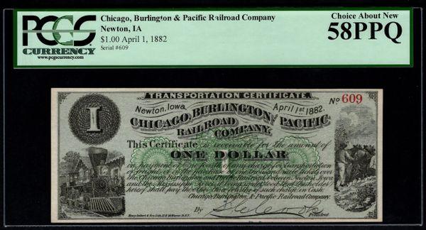 1882 $1 Chicago, Burlington & Pacific Railroad Co. Newton Iowa PCGS 58 PPQ Transportation Certificate with Train Scene Item #80753882