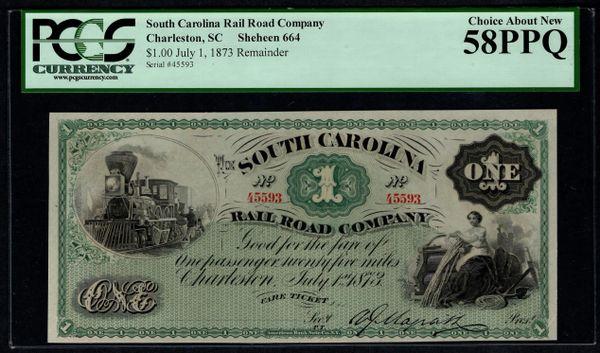 1873 $1 South Carolina Rail Road Co. Charleston SC PCGS 58 PPQ Fare Ticket with Train Scene Item #80739622