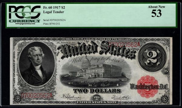 1917 $2 Legal Tender PCGS 53 Fr.60 United States Note Item #80768578