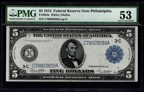 1914 $5 Philadelphia FRN PMG 53 Fr.855a Item #1620478-007