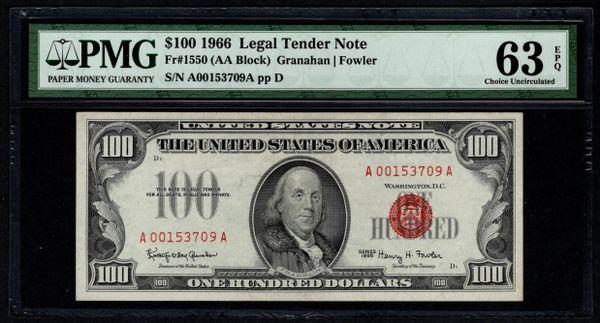 1966 $100 Legal Tender PMG 63 EPQ United States Note Item #5013369-004