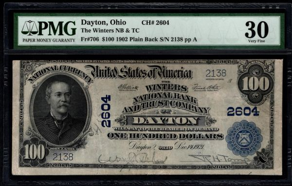 1902 $100 The Winters National Bank & Trust Co. of Dayton Ohio PMG 30 Fr.706 Charter CH#2604 Item #2509186-004