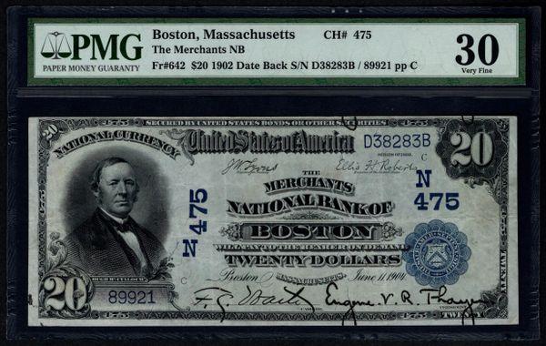 1902 $20 The Merchants National Bank of Boston Massachusetts PMG 30 Fr.642 Charter CH#475 Item #8011114-013