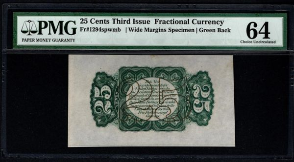 Third 3rd Issue 25 Cents PMG 64 Fr.1294spwmb Green Back Specimen Item #5013451-013