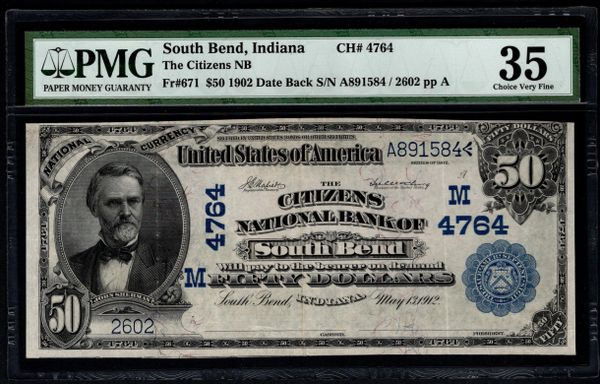 1902 $50 The Citizens National Bank South Bend Indiana PMG 35 Fr.671 Charter CH#4764 Item #5013582-001