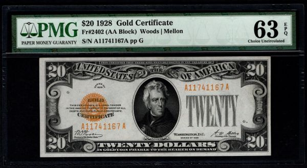 1928 $20 Gold Certificate PMG 63 EPQ Fr.2402 Item #8066860-003