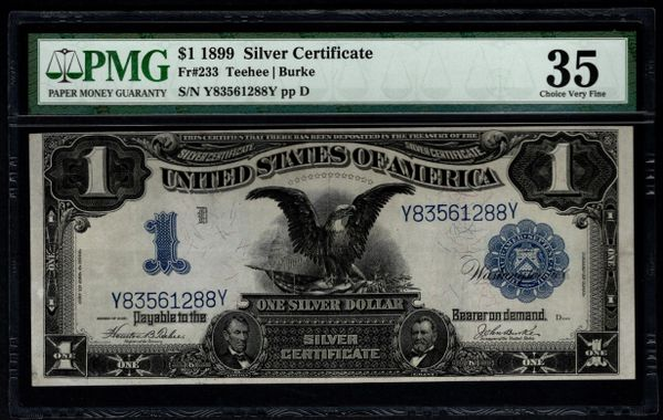 1899 $1 Silver Certificate Black Eagle Note PMG 35 Fr.233 Item #8066860-005