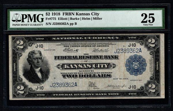1918 $2 Kansas City FRBN Battleship Note PMG 25 Fr.775 Item #5004862-018