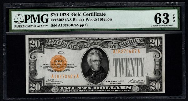 1928 $20 Gold Certificate PMG 63 EPQ Fr.2402 Item #5012103-008