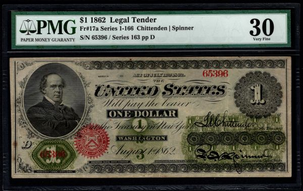 1862 $1 Legal Tender PMG 30 Fr.17a United States Note Item #5013551-011