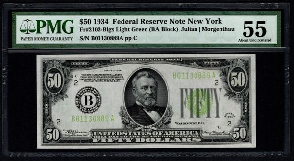 1934 $50 New York FRN PMG 55 Fr.2102-Blgs LGS Light Green Seal Item #5011868-023