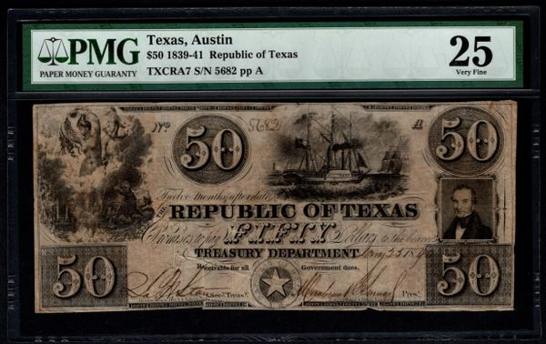 1839-41 $50 Austin Republic of Texas TX PMG 25 Item #5013290-012