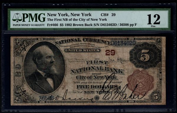 1882 $5 The First National Bank of the City of New York PMG 12 Fr.466 Charter CH#29 Item #1530636-008