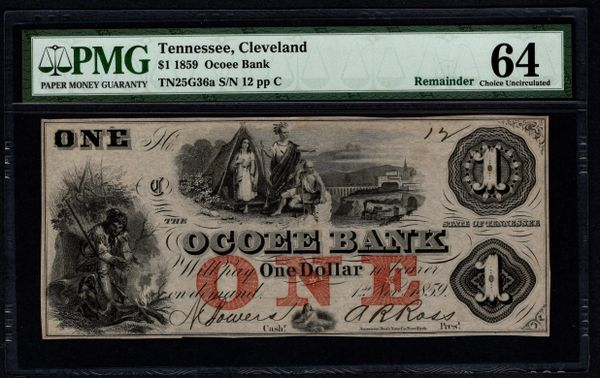 1859 $1 The Ocoee Bank Cleveland Tennessee PMG 64 Item #5013889-001