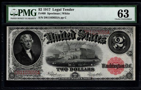 1917 $2 Legal Tender PMG 63 Fr.60 United States Note Item #5013422-008