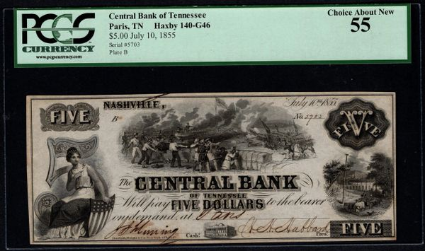 1855 $5 The Central Bank of Tennessee Paris Nashville TN PCGS 55 with Battle Scene Item #59048003