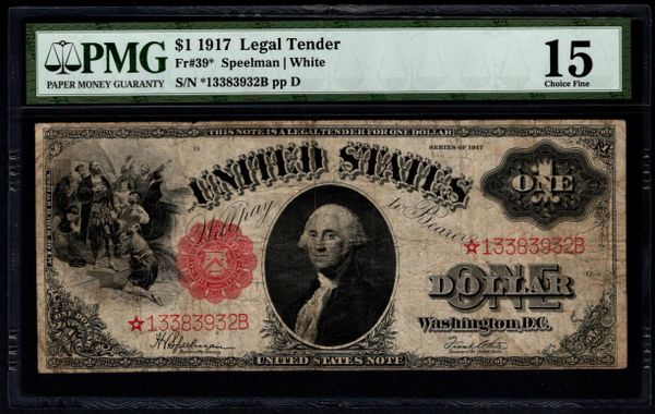 1917 $1 STAR Legal Tender PMG 15 Fr.39* United States Note Item #5013847-008