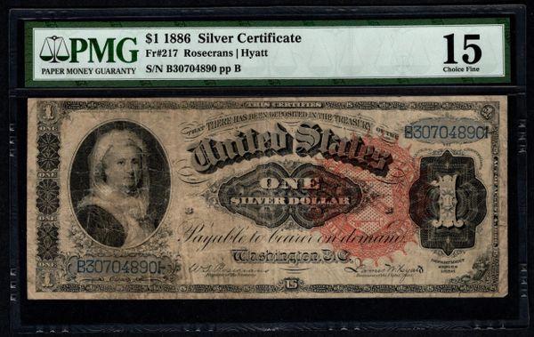 1886 $1 Silver Certificate Martha Note PMG 15 Fr.217 Item #5014134-003