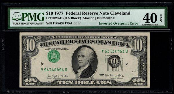 1977 $10 ERROR Inverted Overprint PMG 40 EPQ Fr.2023-D Item #1724143-006