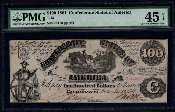 1861 $100 T-13 Confederate Currency PMG 45 NET Civil War Note Item #5010638-010