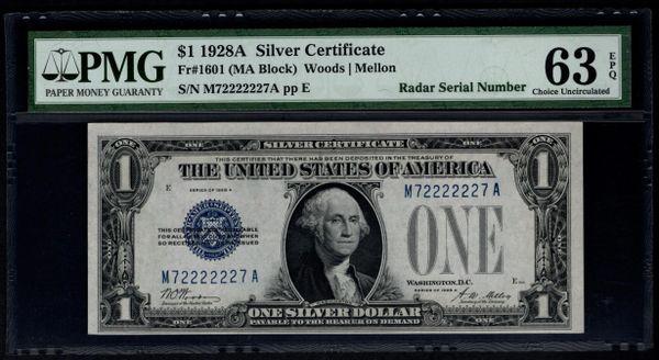 1928A $1 Silver Certificate PMG 63 EPQ Fr.1601 Super Radar Binary Serial Number 72222227 Item #5010250-004