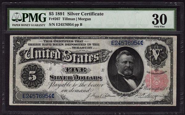 1891 $5 Silver Certificate Grant Note PMG 30 Fr.267 Item #8047268-006