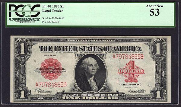 1923 $1 Legal Tender Red Seal PCGS 53 Fr.40 Item #80785409