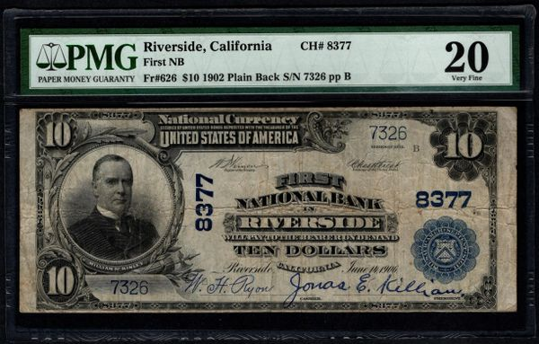 1902 $5 First National Bank In Riverside CA California PMG 20 Fr.626 Charter CH#8377 Item #5013525-011