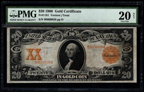1906 $20 Gold Certificate PMG 20 NET Fr.1181 Item #5012654-016